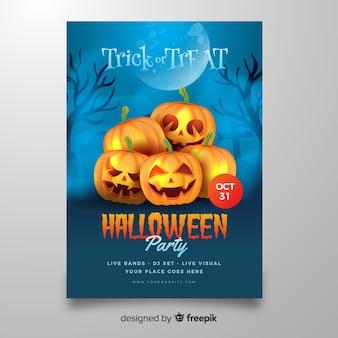 Pyramid of pumpkins halloween flyer template