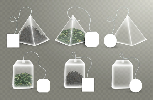 Pyramid and rectangular shape tea bag set.  with empty square, rectangle labels. green and black tea.  realistic teabag template.  illustration