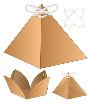Pyramid shape box packaging die cut template design