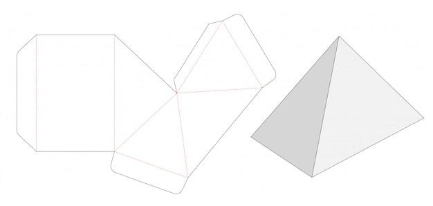 Pyramid shaped box die cut template