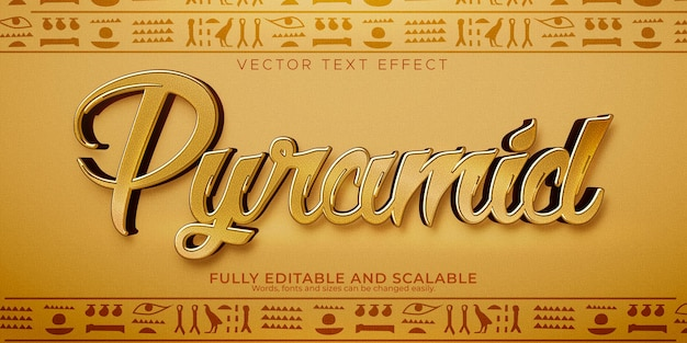 Pyramid text effect; editable egypt and ancient text style