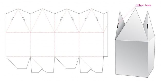 Pyramid top packaging box die cut template design
