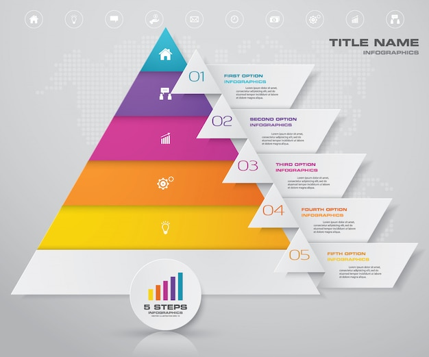 Pyramid with free space for text on each level.