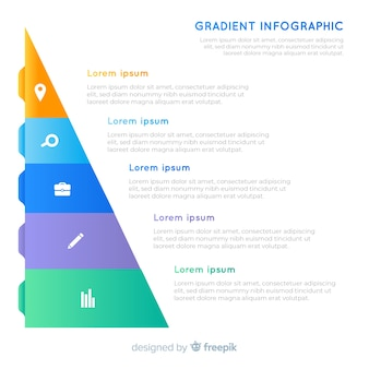 Pyramidal gradient infographic with text