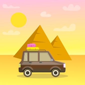 Pyramids of giza cartoon travel postcard, poster.