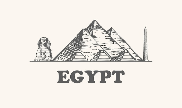 Pyramids, sphinx and obelisk in egypt