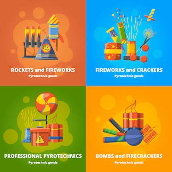 Pyrotechnics elements for party
