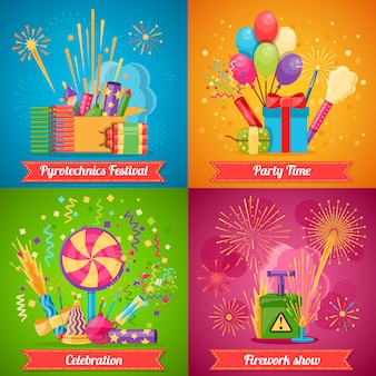 Pyrotechnics festival flat 2x2 icons set
