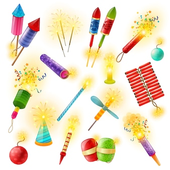 Pyrotechnics firework cracker sparkler colorful set