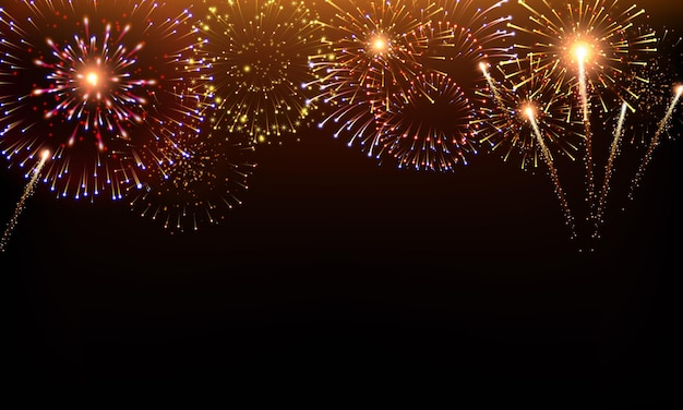Pyrotechnics and fireworks background with animation on black