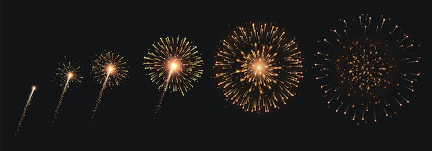 Pyrotechnics and fireworks set with animation on black