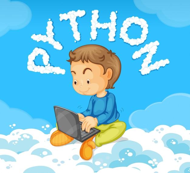 若い、男の子、ノートパソコン、python、コンセプト