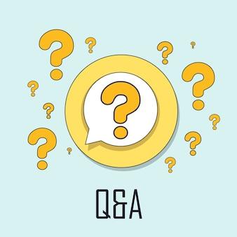 평평한 가는 선 스타일의 q&a 개념
