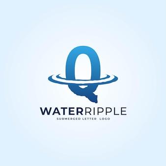 Q青いグラデーション文字水波紋スプラッシュ波ダイナミックロゴベクトルアイコンイラスト