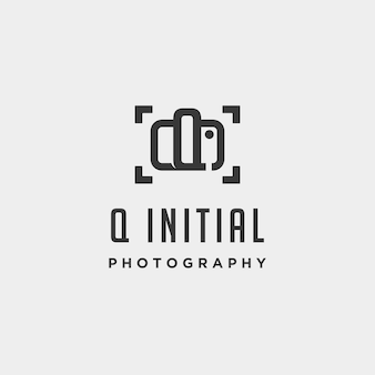 Q initial photography logo template vector design icon element