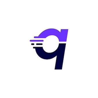 Q文字ダッシュ小文字ハイテクデジタル高速クイック配信ムーブメント青いロゴベクトルアイコンイラスト