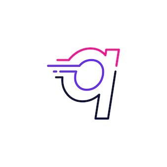 Q文字ダッシュ小文字ハイテクデジタル高速クイック配信移動ラインアウトラインモノラインブルーロゴベクトルアイコンイラスト