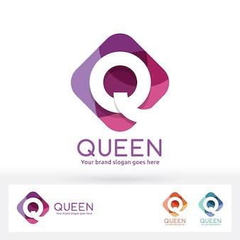 Q letter in harmony color round corner rectangle logo