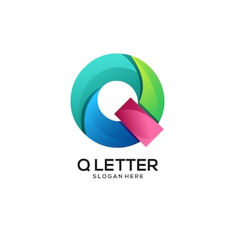 Q文字ロゴグラデーションカラフルな抽象的なイラスト