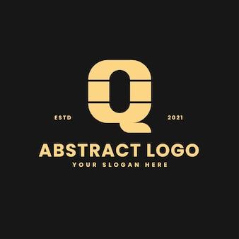 Q letter luxurious gold geometric block concept logo vector icon illustration