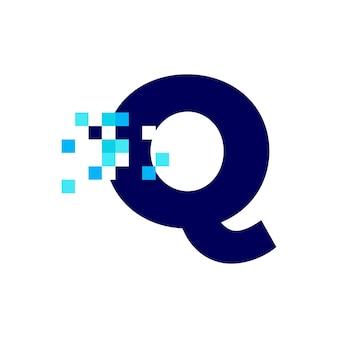 Q 문자 픽셀 마크 디지털 8 비트 로고 벡터 아이콘 그림