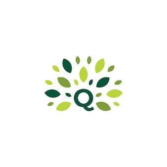 Q文字ツリー葉自然マーク緑のロゴベクトルアイコンイラスト