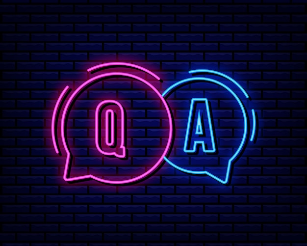 Q and a neon sign