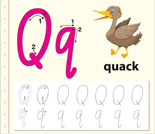 アルファベットのqワークシートをトレースする手紙q