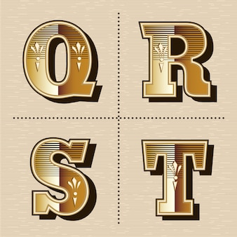 Старинные западные буквы алфавита шрифта дизайн векторные иллюстрации (q, r, s, t)