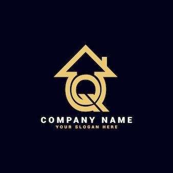 Q不動産の手紙のロゴ、qのアパートのロゴ、qの家のロゴ