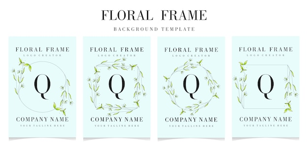 花のフレームの背景テンプレートと手紙qロゴ