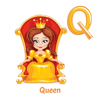 Вектор алфавит буква q. королева.