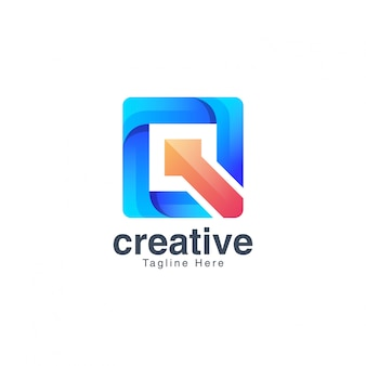 Красочная буква q логотип дизайн вектор шаблон