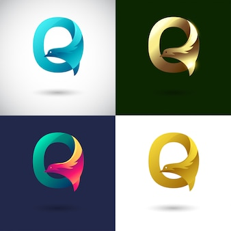 Креативный дизайн логотипа буква q