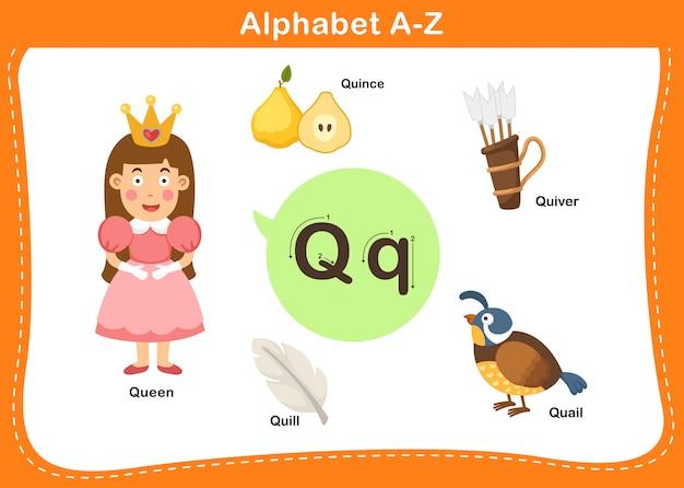 Алфавит буква q иллюстрации