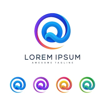 Буква q разноцветный логотип шаблон