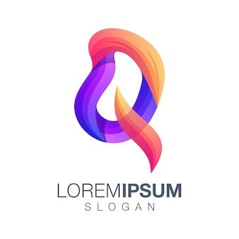 Буква q градиент цветной логотип