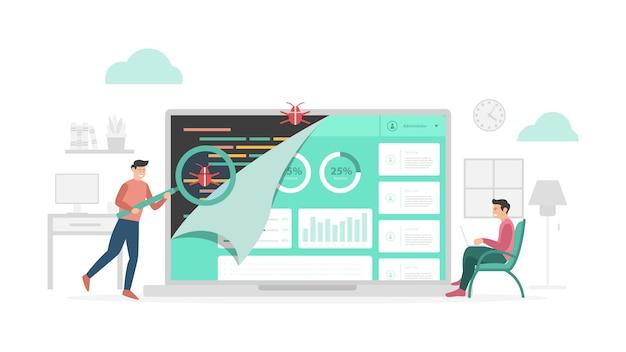 현대적인 평면 스타일과 미니멀리스트 녹색 테마의 qa 품질 보증 검사 데이터 프로그램 버그