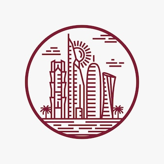 Qatar city tower logo design inspiration