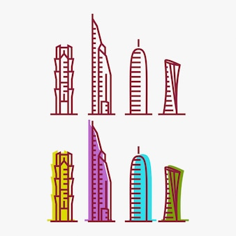 Qatar city tower logo design inspiration