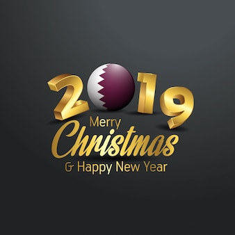 Qatar flag 2019 merry christmas typography