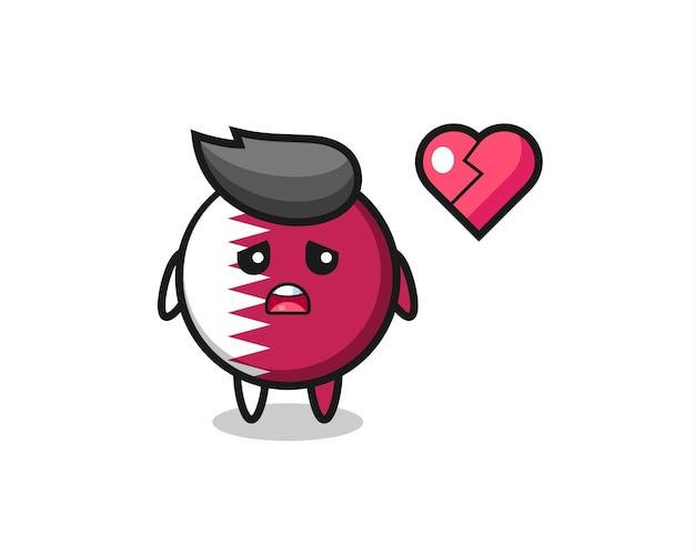 Значок флага катара мультфильм иллюстрация разбитое сердце, милый стиль дизайн для футболки, наклейки, элемент логотипа
