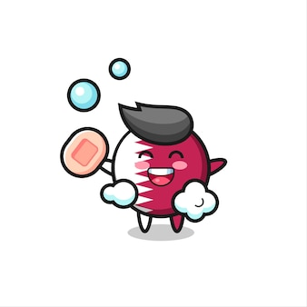Qatar flag badge character is bathing while holding soap , cute style design for t shirt, sticker, logo element