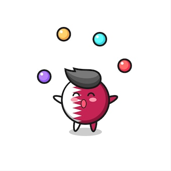 The qatar flag badge circus cartoon juggling a ball , cute style design for t shirt, sticker, logo element