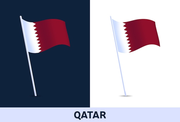 カタールの国旗。白と暗い背景で隔離のイタリアの国旗を振っています。公式の色と旗の比率。図。