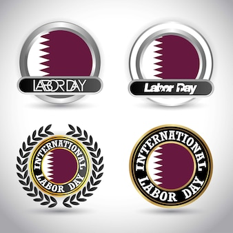 Qatar flag with labour day design vector