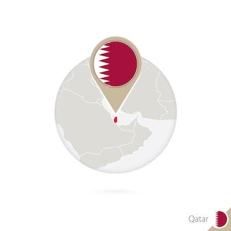 Qatar map and flag in circle. map of qatar, qatar flag pin. map of qatar in the style of the globe. vector illustration.