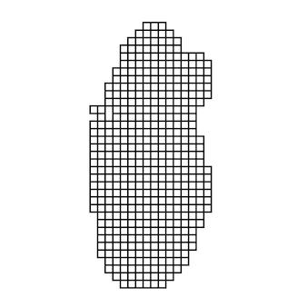 正方形の黒いパターンのモザイク構造からのカタールの地図のシルエット。ベクトルイラスト。