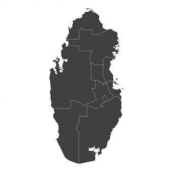 흰색에 검은 색으로 선택된 지역이있는 카타르지도