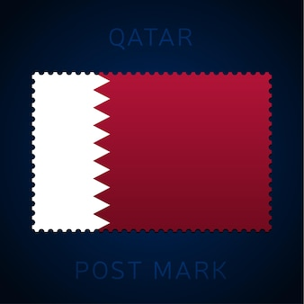 카타르 우표. 국기 우표 흰색 배경 벡터 일러스트 레이 션에 고립입니다. 공식 국가 국기 패턴과 국가 이름이 있는 스탬프